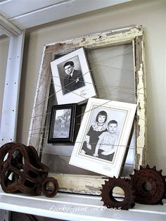 Old window and string picture frame by Funky Junk Interiors (this pin leads to a TON of old window features and a themed link party) use all my old frames Primitive Home Decorating, Primitive Homes, Primitive Decor, Funky Junk Interiors, Store Interiors, Old Frames, Window Frames, Window Ideas, Vintage Frames