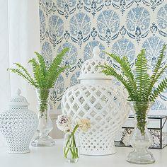 Turkish Damask by Thibaut - Blue / White - Wallpaper : Wallpaper Direct