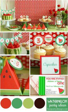 Watermelon Party Ideas by Fara Party Design Watermelon Birthday Parties, Watermelon Baby, Fruit Party, 2nd Birthday Parties, Birthday Ideas, Little Mermaid Birthday, Baby First Birthday, Party Time, Party Fun