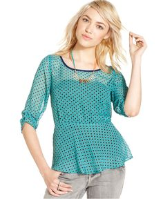 Eyeshadow Juniors Top, Three-Quarter Sleeve Printed Peplum - Juniors Tops - Macys
