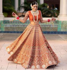 Bride in an orange lehenga with gotta patti work. Lehenga Designs Latest, Wedding Lehenga Designs, Lehenga Wedding, Party Wear Lehenga, Wedding Mandap, Desi Wedding, Wedding Stage, Summer Wedding, Mehendi Outfits