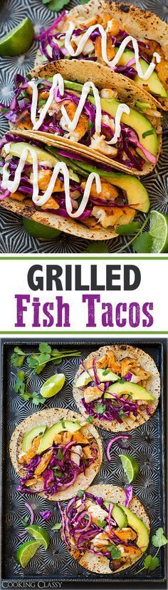 Grilled Fish Tacos with Lime Cabbage Slaw - these tacos look amazing. Colourful and fresh with lots of good , nourishing food. Healthy, quick and simple to make for lunch or supper.
