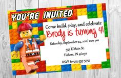 Personalised LEGO Birthday Party Invitation Lego birthday party