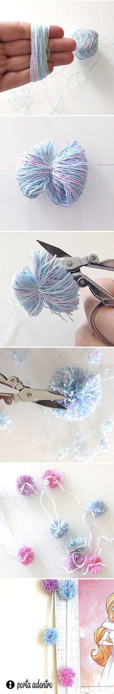Como fazer varal com pompom    Varais decorativos são muito fáceis de fazer e ficam lindinhos pra usar no quarto ou no escritório