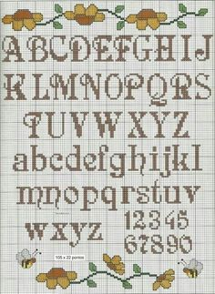 "Alfabeto ""Alphabet chart for tapestry crochet. Cross Stitch Letter Patterns, Cross Stitch Numbers, Cross Stitch Letters, Cross Stitch Baby, Cross Stitch Samplers, Cross Stitch Charts, Cross Stitch Designs, Cross Stitching, Cross Stitch Embroidery"