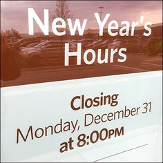 New Year's Hours Storefront Window Announcement