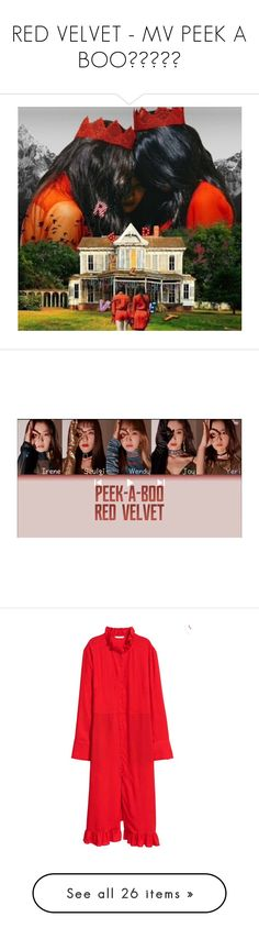 """RED VELVET - MV PEEK A BOO💛💚💜💙❤"" by vvvan99 ❤ liked on Polyvore featuring tops, shirts, red, sheer top, red ruffle top, red ruffle shirt, ruffle top, transparent top, skirts and flounce skirt"