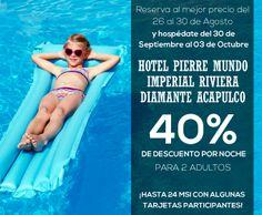 ¡RESERVA HOY! al mejor precio y obtén un 40% de descuento en Hotel Pierre Mundo Imperial Riviera Diamante Acapulco. ¡NO DEJES PARA MAÑANA LO QUE PUEDES HACER HOY!