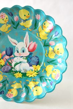 Vintage Easter Bunny and Chicks Plastic Cookie tray