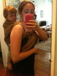 back carrier wrap DIY and how to get the baby in it!