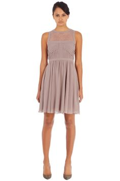 Dresses | Brown LACE INSERT RAW EDGE DRESS | Warehouse