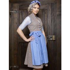 Goldstich Vintage Baumwolldirndl taupe hellblau Model