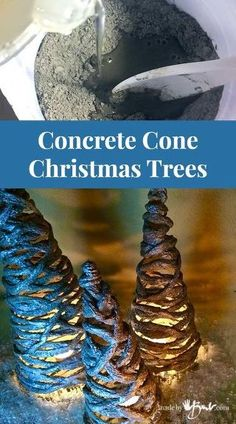 Easy concrete project using portland cement, simple forms and yarn. Easy concrete project using portland cement, simple forms and yarn. Add sparkle to make whatever size you like. Incombustible concrete for candle holders! Concrete Crafts, Concrete Art, Concrete Projects, Concrete Molds, Pallet Christmas Tree, Cone Christmas Trees, Christmas Crafts, Christmas Holidays, Christmas Ideas
