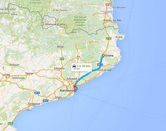 Mapa do itinerário de autocarro desde Girona até Barcelona