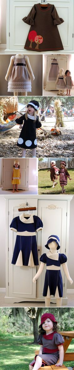 The contrast collar/midriff/gores on the navy and white dress is amazing, and totally something I could incorporate into my wardrobe. (Little girls' clothes: not just for little girls anymore!)
