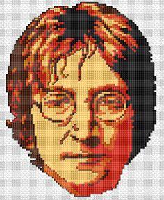 Cross stitch portrait in memory of the musician and former Beatles member John Lennon.