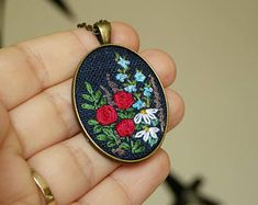 Embroidered pendant, wild flowers, garden necklace, Night meadow, Gift for her, Vintage, Antique, Needlework Jewelry, needlepainting