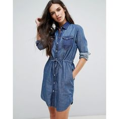 G-Star Tacoma Denim Shirt Dress (2.220 ARS) ❤ liked on Polyvore featuring dresses, blue, utility dress, long shirt dress, denim dress, tall dresses and tall shirt dress