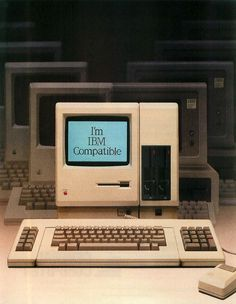 "vintagecomputers: "" MacCharlie The MacCharlie was a hardware add-on for the Apple Macintosh that was made by Dayna Communications. The name refers to an IBM PC advertising campaign of the time featuring Charlie Chaplin's ""Little Tramp"" character. Computer Case, Gaming Computer, Steve Jobs, Pc Gadgets, Old Technology, Retro Arcade, Cool Tech, Retro Futurism, Advertising Campaign"