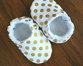 Baby shoes girls, toddler shoes, girls slippers, moccasins, gold polka dot shoes, newborn crib shoes, holiday, baby booties, baby shower