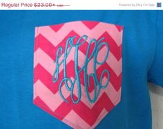 ON SALE Chevron Pocket Tee Pink Chevron Monogrammed Pocket T Shirt - Pocket Shirts-Tees - Many Colors - Adult Sizes - Embroidered on Etsy, $20.00