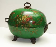 English Victorian coal hod of ovoid form, emerald green painted tole body is decorated with floral bouquets and birds, circa 1860