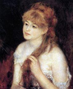 Giovane donna si accarezza i capelli