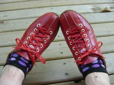 Bowling Shoes Vintage Retro Red Leather Daoust by VintageVigo