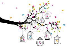 Sticker boom met vogels en vogelkooien, vector