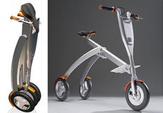 The Rider: An Electric Commuter Trike - The Rider is another concept/prototype, this time even more experimental than Honda's electric moped. It was designed by Elisha Wetherhorn as a complement to trains and buses. It's a three-wheeled electric commuter scooter that you can fold and carry with you. It tilts a bit when turning corners (making it more fun), and it can run for 4 hours at 15 kph (9.5 mph) on its 24 volt battery.