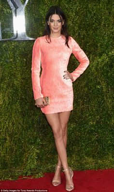 What a peach: Kendall Jenner looked fabulous in a custom Calvin Klein mini dress at the Tony Awards at Radio City Music Hall on Sunday