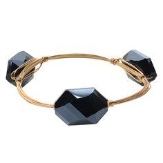 Journee Collection Brass Glass Stone Bangle Bracelet