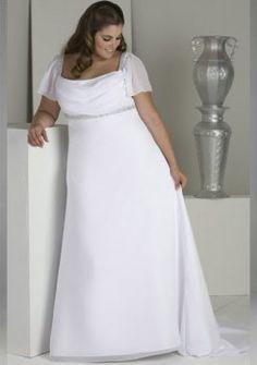 Empire square treno raso abiti da sposa taglie forti di chiffon Plus Size  Wedding Dresses With 3c771374a73