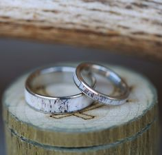 His & Hers Matching Rings with Antler. Handcrafted by Staghead Designs.