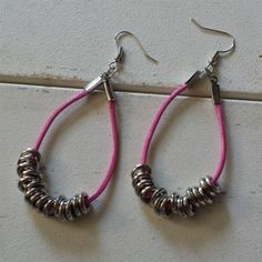 Handmade Pink Long Polyester Cord Silver Tone Rings Dangle Hoop Earrings | eBay