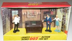 Goldfinger Diorama by Gilbert Toys (1965) Contains Hand Painted Figures of James Bond (Sean Connery), Miss Moneypenny (Lois Maxwell), M (Bernard Lee) And His Desk