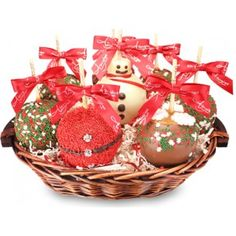 Premium 8 Apple Holiday Caramel Apple Gift Basket - For more information please visit: http://www.amysgourmetapples.com/gifts-by-season/christmas-gifts/premium-8-apple-holiday-gift-basket.html