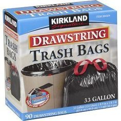 Kirkland Signature Drawstring Trash Bags - 33 Gallon -Black Xl Size New Mega Size Package 180 Count, 2015 Amazon Top Rated Tall Kitchen Bags #Home