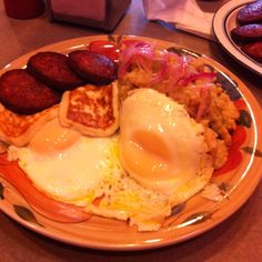 Mangu con Los tres golpes, Dominican food made with mashed boiled green plantains and butter, eggs, fried cheese and salami...bangin!