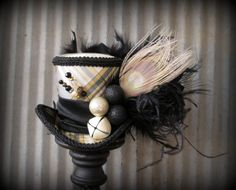 Christmas Mini Top Hat Black and Cream Mini Top Hat by ChikiBird