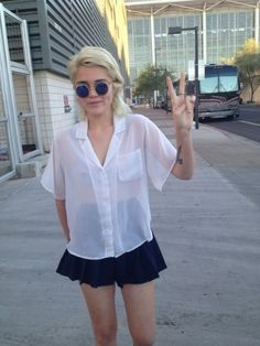 Sky Ferreira wears the Boxy Blouse + Tennis Skirt. -- Shop Now! http://store.americanapparel.net/tennis-skirt_rsagb300