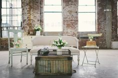 Neutral Wedding Inspiration | Sven Sofa and Mix & Match Chairs | photo by Kate Ignatowski via Green Wedding Shoes