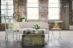 Neutral Wedding Inspiration | Sven Sofa and Mix & Match Chairs | photo by Kate Ignatowski via Green Wedding Shoes