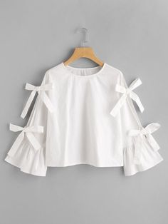 SheIn offers Bow Embellished Split Trumpet Sleeve Top & more to fit your fashionable needs. Girls Fashion Clothes, Teen Fashion Outfits, Girl Fashion, Fashion Dresses, Sleeves Designs For Dresses, Fancy Tops, Stylish Dresses For Girls, Frock Design, Mode Chic