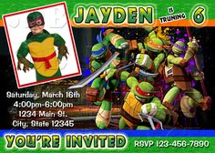 Ninja Turtles Invitations, TMNT, Teenage Mutant Ninja Turtle's Invitation, Ninja Turtle's Party, Ninja Turtle's Birthday Printables