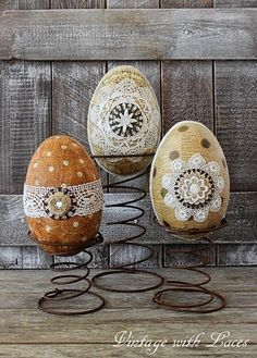 Decorated Paper Mache Eggs on Rusty Springs