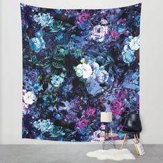 Buy RPE FLORAL X Wall Tapestry by RIZA PEKER. #floral #grunge #home #wallart #art #society6 #dark