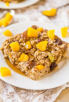 Peaches & Coconut Cream Baked Oatmeal: healthy, hearty, and ready in 30 minutes (vegan).