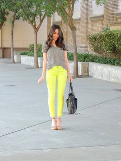 In a current skinny jean style supported by medium-hued neutrals (navy works brilliantly too!)