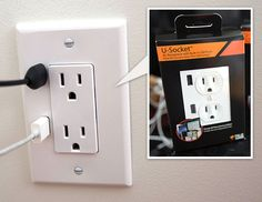 Wall socket of the future... how cool is that?! U-Socket USB Power Outlets.